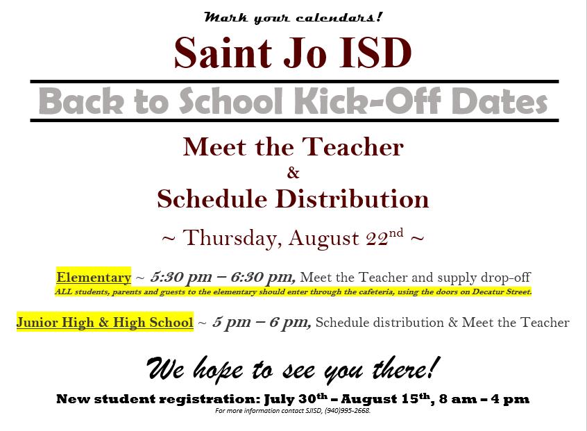 Saint Jo ISD - Meet the Teacher & Schedule Distribution